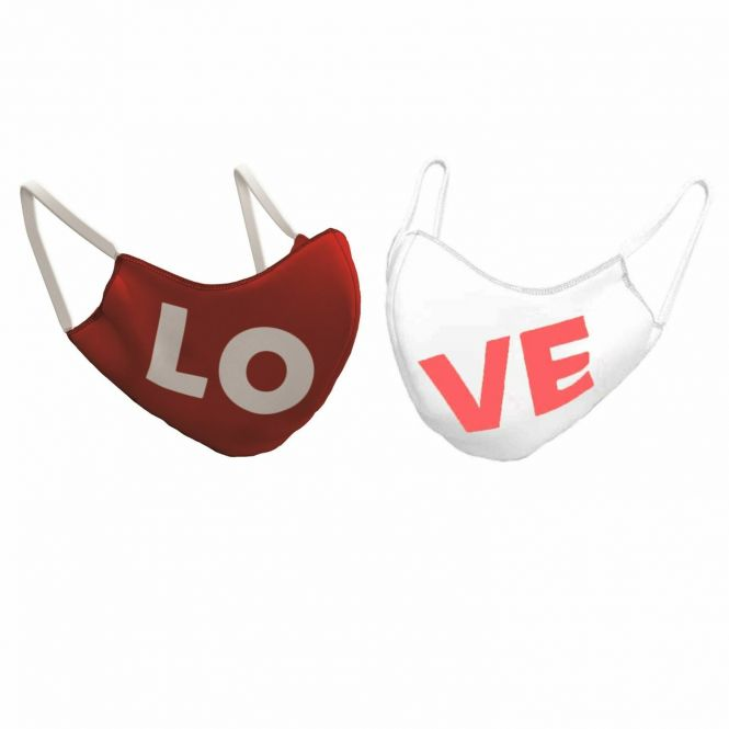 TAO Sportswear - MASKE - 2er Pack (Bio-Baumwolle) - Bio-Baumwolle mit LOVE-Aufdruck - color mix LOVE