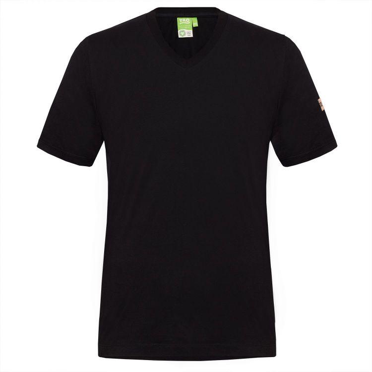 TAO Sportswear - MATS - Freizeitshirt mit V-Ausschnitt aus Bio-Baumwolle - black